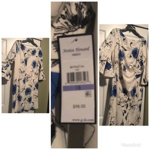 White, Blue and Black Multicolored dress size 18